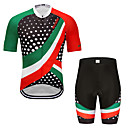 cheap Cycling Underwear & Base Layer-MUBODO Men's Short Sleeve Cycling Jersey with Shorts Green / Black Bike Clothing Suit Breathable Quick Dry Reflective Strips Sports Mesh Mountain Bike MTB Road Bike Cycling Clothing Apparel