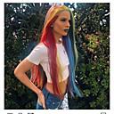 preiswerte Synthetische Perücken mit Spitze-Synthetische Lace Front Perücken Kinky Glatt / Natürlich gerade Stil Stufenhaarschnitt Spitzenfront Perücke Ombre Regenbogen Synthetische Haare 24 Zoll Damen Damen / Gefärbte Haarspitzen (Ombré Hair)