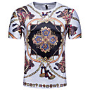 cheap Pillow Covers-Men's T-shirt - Color Block / 3D / Tribal Print Round Neck White L