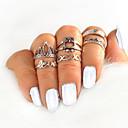 זול טבעות-בגדי ריקוד נשים טבעת טבעת הגדר 6pcs כסף סגסוגת מעגלי Geometric Shape פשוט טרנדי מתוק חתונה תכשיטים לא תואם ינשוף חמוד