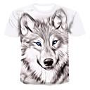 お買い得  メンズブーツ-男性用 プリント Tシャツ ラウンドネック 3D / 動物 / カートゥン ホワイト