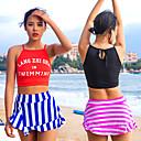 זול תיקי בית ספר-בגדי ריקוד נשים שני בגד ים אלסטיין בגדי ים הגנה מפני השמש UV ייבוש מהיר ללא שרוולים 2חלקים - שחייה טלאים אביב קיץ / גמישות גבוהה
