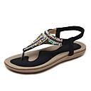 billige Sandaler til damer-Dame PU Sommer Vintage / Afslappet Sandaler Flade hæle Åben Tå Sort / Mandel