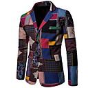 billige Herreblazere og jakkesæt-Herre Blazer, Farveblok Hakrevers Polyester Regnbue XXL / XXXL / XXXXL