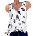 abordables Camisas y Camisetas para Mujer-Mujer Estampado Camiseta, Escote en Pico Geométrico Verde Trébol XXXL