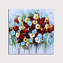 זול ציורים מופשטים-ציור שמן צבוע-Hang מצויר ביד - מופשט פרחוני / בוטני מודרני כלול מסגרת פנימית
