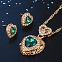 זול סט תכשיטים-בגדי ריקוד נשים עגילים צמודים שרשראות תליון קלאסי לב מסוגנן קלסי אבן נוצצת ציפוי זהב עגילים תכשיטים ירוק עבור יומי עבודה 1set