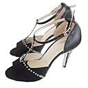 povoljno Cipele za latino plesove-Žene Plesne cipele Saten Cipele za latino plesove Crystal / Rhinestone Štikle Tanka visoka peta Moguće personalizirati Crn