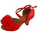 povoljno Cipele za latino plesove-Žene Plesne cipele Saten Cipele za latino plesove Cvijet Štikle Kubanska potpetica Moguće personalizirati Crvena