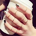 זול Fashion Ring-בגדי ריקוד נשים טבעת טבעת הגדר זירקונה מעוקבת 10pcs זהב סגסוגת מעגלי פשוט טרנדי אלגנטית חתונה תכשיטים חמוד