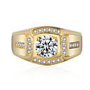 זול Fashion Ring-בגדי ריקוד נשים טבעת זירקונה מעוקבת 1pc זהב כסף סגסוגת מעגלי טרנדי אלגנטית חתונה תכשיטים לְחַבֵּב פרח חמוד