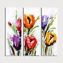 זול ציורי נוף-ציור שמן צבוע-Hang מצויר ביד - פרחוני / בוטני מודרני כלול מסגרת פנימית / שלושה פנלים