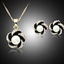 זול סט תכשיטים-בגדי ריקוד נשים עגילים צמודים שרשרת פרח מסוגנן דמוי פנינה אבן נוצצת עגילים תכשיטים זהב עבור יומי 1set