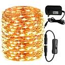 billige LED Strip Lamper-KWB 30m Lysslynger 300 LED 1 DC-kabler / 1 x 12V 3A strømforsyning Varm hvit / Hvit / Blå Søtt / Nytt Design / Bryllup 100-240 V 1set
