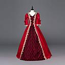 ราคาถูก เสื้อผ้าประวัติศาสตร์และวินเทจ-เจ้าหญิง Maria Antonietta สไตล์ลอรัล Rococo Victorian Renaissance หนึ่งชิ้น ชุดเดรส Party Costume Masquerade สำหรับผู้หญิง เครื่องแต่งกาย สีแดง Vintage คอสเพลย์ ลูกไม้ คริสมาสต์ Halloween
