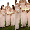 זול שמלות שושבינה-גזרת A לב (סוויטהארט) עד הריצפה שיפון שמלה לשושבינה  עם סלסולים על ידי JUDY&JULIA