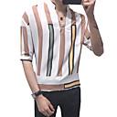 baratos Tênis Masculino-Homens Camisa Social Moda de Rua / Elegante Estampado, Listrado / Geométrica Colarinho Clerical Branco / Manga Longa