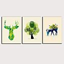 זול הדפסים-דפוס הדפסי בד מגולגל - מופשט חיות קלסי מודרני שלושה פנלים הדפסים אמנותיים