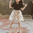 halpa Tyttöjen mekot-Lapset Tyttöjen Makea söpö tyyli Musta Galaksi Monitaso Silmukka Painettu Lyhythihainen Midi Mekko Musta / Puuvilla