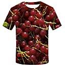 billige Hjem & Hage-Bomull Rund hals Store størrelser T-skjorte Herre - 3D / Grafisk / Frukt, Trykt mønster Gatemote / overdrevet Rød / Kortermet