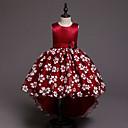 זול תחפושות בנושאי טלוויזיה וסרטים-נסיכה א-סימטרי שמלה לנערת הפרחים  - כותנה / סאטן / טול ללא שרוולים עם תכשיטים עם אפליקציות / דוגמא \ הדפס / חגורה על ידי LAN TING Express