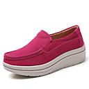 זול נעלי עקב לנשים-בגדי ריקוד נשים סוויד קיץ & אביב / סתיו חורף בריטי / מִעוּטָנוּת נעליים ללא שרוכים הליכה / נעלי סווינג מטפסים בוהן עגולה אדום / כחול / שקד