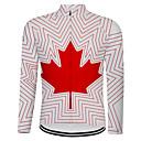 זול כיסויים-21Grams קנדה דגל לאומי בגדי ריקוד גברים שרוול ארוך חולצת ג'רסי לרכיבה - לבן אופניים צמרות עמידות UV נושם פתילת לחות ספורט טרילן רכיבת הרים רכיבת כביש ביגוד / מיקרו-אלסטי / ייבוש מהיר / ייבוש מהיר