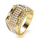 זול צמידי גברים-בגדי ריקוד גברים טבעת הטבעת 1pc זהב כסף אבני חן וקריסטל נחושת אבן נוצצת מרובע מסוגנן טרנדי יומי עבודה תכשיטים לגזור לסלול יָקָר מגניב חמוד / ציפוי זהב
