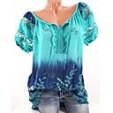 abordables Boucle d'Oreille-Tee-shirt Grandes Tailles Femme, Fleur Basique Col en V Ample Fuchsia XXXL