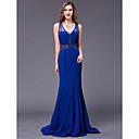 זול שמלות שושבינה-גזרת A צווארון V עד הריצפה שיפון ערב רישמי שמלה עם חרוזים על ידי TS Couture®