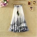 hesapli Göz Farları-Kadın's Temel Boho A Şekilli / Salıncak Etekler - Çiçekli Şifon / Desen Beyaz Mor Sarı Tek Boyut / Salaş