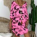 זול תיקי טיולים-א-סימטרי דפוס, צבע הסוואה - שמלה טישרט בסיסי סגנון רחוב בגדי ריקוד נשים