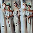 זול שמלות שושבינה-גזרת A כתפיה אחת / רצועות ספגטי עד הריצפה שיפון שמלה לשושבינה  עם שסע קדמי על ידי JUDY&JULIA