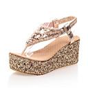 זול נעלי עקב לנשים-בגדי ריקוד נשים PU קיץ בריטי / פרפי סנדלים עקב טריז פתוח בבוהן ריינסטון זהב / כסף / מסיבה וערב