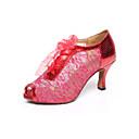 povoljno Cipele za latino plesove-Žene Plesne cipele Čipka Cipele za latino plesove Čipka Štikle Deblja visoka potpetica Moguće personalizirati Bijela / Crvena / Plava / Seksi blagdanski kostimi