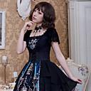 זול שמלות לוליטה-אומנותי / רטרו גותיות פאנק & גותיות שיפון קטיפה כל שמלות Cosplay שחור פרפר שרוולים קצרים באורך  הברך אורך בינוני תחפושות