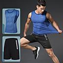 billige Løbetøj-Herre Elastisk talje Træningsdragt Sport Farveblok T-shirt og shorts til løb og jogging Løb Fitness Gym træning Uden ærmer Sportstøj Åndbart Hurtigtørrende Blød Refleksbånd Mikroelastisk Regulær