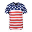 זול פיאות תחרה סינטטיות-מבוגרים בגדי ריקוד גברים קוספליי דגל אמריקאי תחפושות קוספליי חולצת טי עבור Halloween לבוש יומיומי כותנה יום העצמאות טי שירט