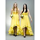 זול שמלות שושבינה-גזרת A לב (סוויטהארט) א-סימטרי שיפון שמלה לשושבינה  עם חרוזים / סלסולים על ידי JUDY&JULIA