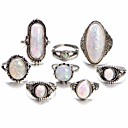 זול טבעות-בגדי ריקוד נשים טבעת הגדר זירקונה מעוקבת 8pcs לבן סגסוגת מעגלי ארופאי חתונה תכשיטים חמוד