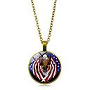 זול שרשרת אופנתית-בגדי ריקוד נשים שרשראות תליון דגל אמריקאי Eagle דגל תכשיטים פטריוטים ארופאי טרנדי מקרי / ספורטיבי זכוכית Chrome זהב שחור כסף 45+5 cm שרשראות תכשיטים 1pc עבור מתנה יומי פֶסטִיבָל