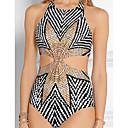 זול ביקיני ובגדי ים-קשת M L XL פסים קשת, בגדי ים חלק אחד (שלם) חוטיני קשת בסיסי בגדי ריקוד נשים