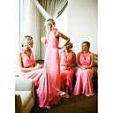 זול שמלות שושבינה-גזרת A צלילה עד הריצפה שיפון שמלה לשושבינה  עם סלסולים על ידי JUDY&JULIA