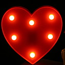 זול ה לד תאורה חכמה-1pc הוביל אור לילה אדום לב בצורת חם לבן aa סוללות מופעל יצירתי<5 נ '