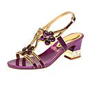 hesapli Kadın Sandaletleri-Kadın's Ayakkabı Mikrofiber Yaz Sandaletler Kalın Topuk Açık Uçlu Günlük / Kumsal için Taşlı Altın / Mor / Mavi
