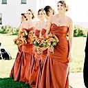 זול שמלות שושבינה-גזרת A לב (סוויטהארט) עד הריצפה טפטה שמלה לשושבינה  עם סלסולים על ידי JUDY&JULIA