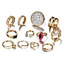זול טבעות-בגדי ריקוד נשים טבעת הגדר זירקונה מעוקבת 12pcs זהב סגסוגת מעגלי ארופאי חתונה תכשיטים חמוד