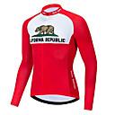 זול כיסויים-21Grams הרפובליקה של קליפורניה בגדי ריקוד גברים שרוול ארוך חולצת ג'רסי לרכיבה - אדום /  לבן אופניים ג'רזי צמרות נושם פתילת לחות ייבוש מהיר ספורט טרילן רכיבת הרים ביגוד / מיקרו-אלסטי / מידת Race Fit