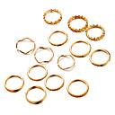זול טבעות-בגדי ריקוד נשים טבעת הגדר זירקונה מעוקבת 14pcs זהב סגסוגת מעגלי ארופאי חתונה תכשיטים חמוד