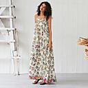 זול חליפות שני חלקים לנשים-מקסי Ruched מפוצל דפוס, פרחוני - שמלה נדן סווינג בסיסי בוהו בגדי ריקוד נשים